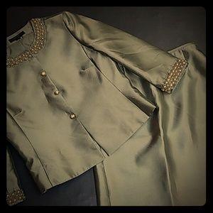 Light olive Green Tahari Luxe suit